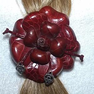 Brighton red leather hair barrette